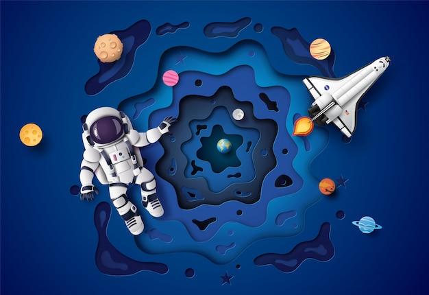 成層圏に浮かぶ宇宙飛行士。ペーパーアートとクラフトスタイル。 Premiumベクター