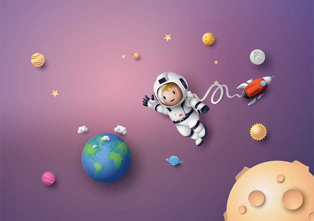 宇宙飛行士宇宙飛行士が成層圏に浮かんでいます。ペーパーアートとクラフトスタイル。 Premiumベクター
