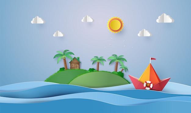 カラフルな紙の帆船、紙のカットと折り紙。 Premiumベクター