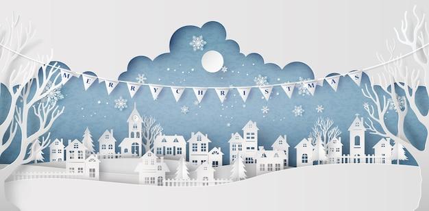 満月の冬雪都市田舎風景市村 Premiumベクター