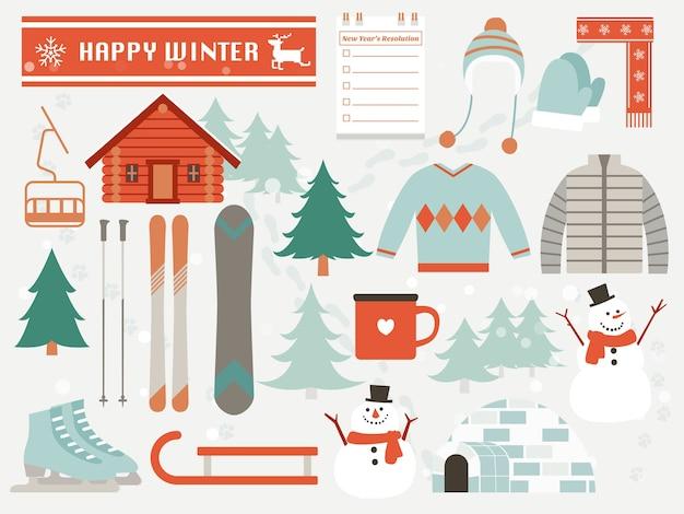 Счастливые зимние элементы, плоский дизайн Premium векторы