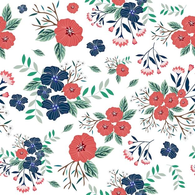 青と赤の花のシームレスパターン Premiumベクター