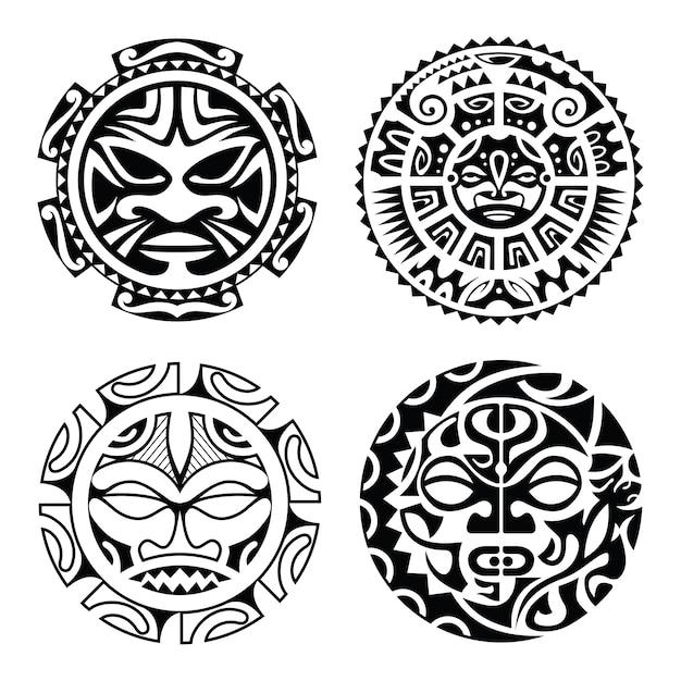 Набор полинезийских тату Premium векторы