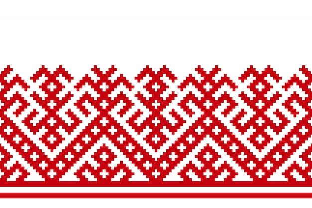 ロシアの古い刺繍とパターン Premiumベクター