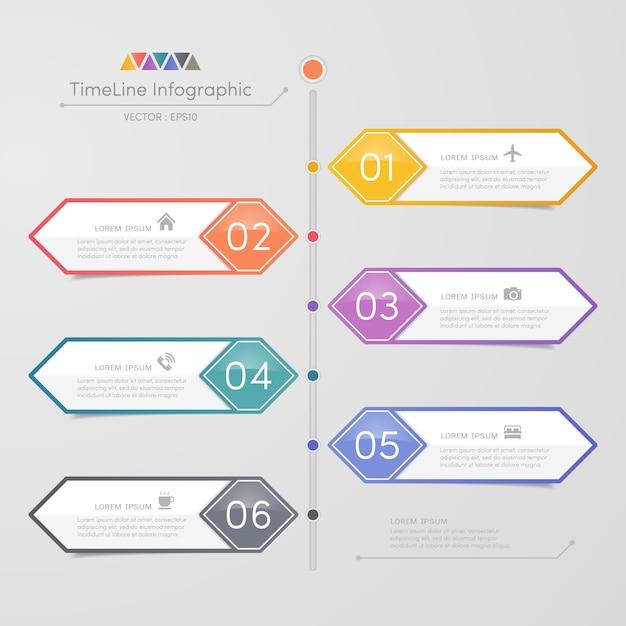 Шаблон для инфографики временной шкалы с иконками Premium векторы