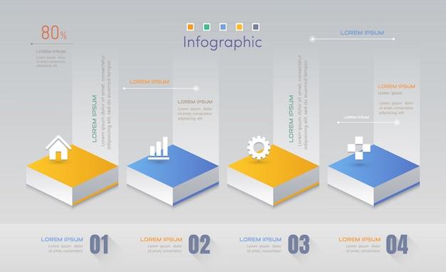 アイコンとインフォグラフィックデザインテンプレート Premiumベクター