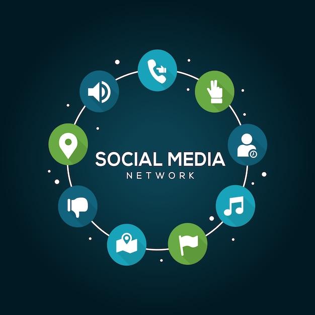 Концепция социальных медиа. Premium векторы