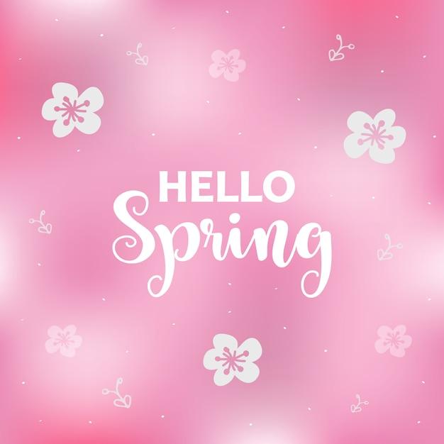 花とピンクの春の背景シーズングリーティングカード。 Premiumベクター