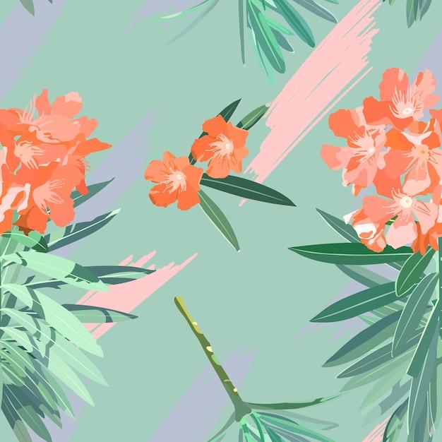 スウィートオレアンダーの花のシームレスパターン Premiumベクター