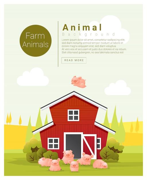 豚と農村風景と農場の動物の背景 Premiumベクター