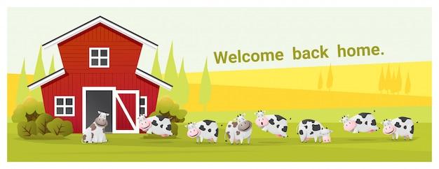 牛と農村風景と農場の動物の背景 Premiumベクター
