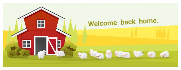 農村景観と羊と農場の動物の背景 Premiumベクター