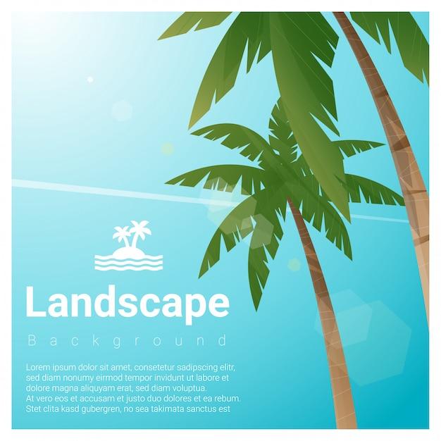 熱帯のビーチでヤシの木と風景の背景 Premiumベクター