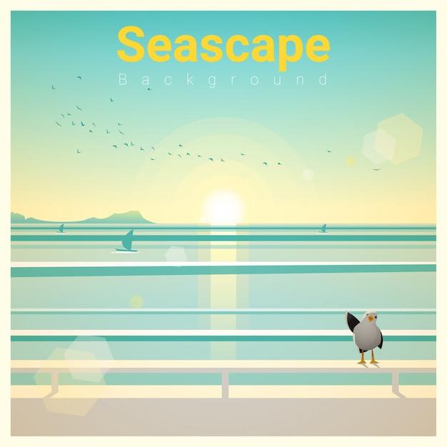 朝の海の景色と海の景色の背景 Premiumベクター