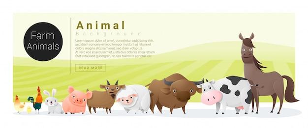 Милая семья животных с сельскохозяйственными животными и текстовым шаблоном Premium векторы