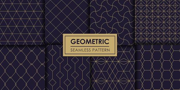 豪華な幾何学的なシームレスパターンセット、装飾的な壁紙。 Premiumベクター