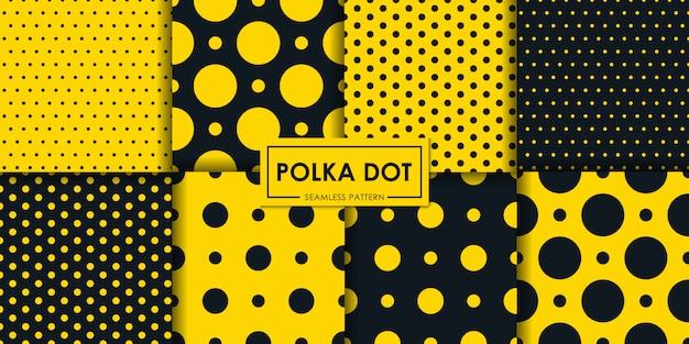 黒と黄色の水玉シームレスパターンコレクション。 Premiumベクター