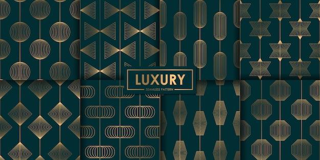 豪華な幾何学的なシームレスパターンセット、抽象的な背景、装飾的な壁紙。 Premiumベクター