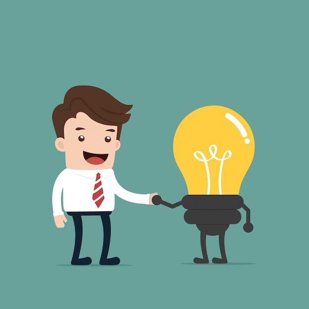 ビジネスマンがアイデアを得る Premiumベクター