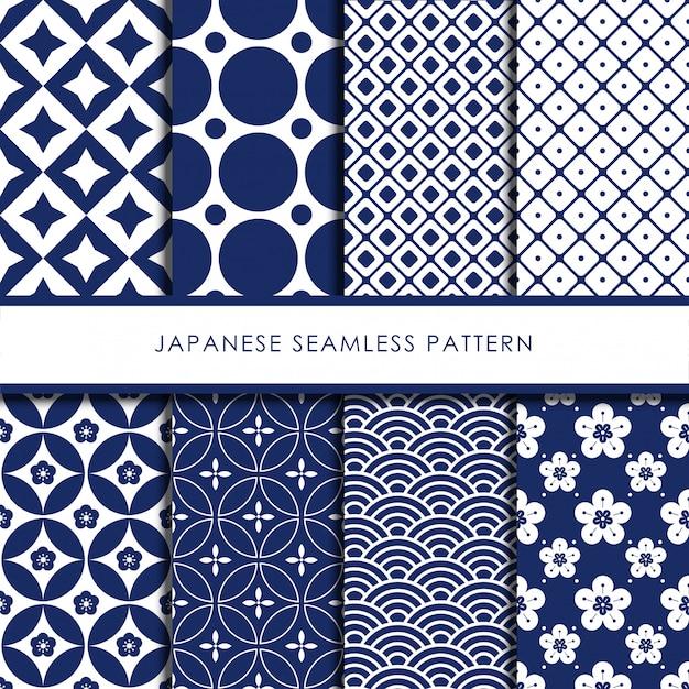 日本のシームレスパターンベクトルを設定 Premiumベクター