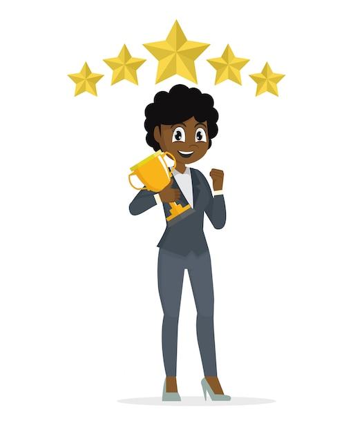 Фрикэн предприниматель концепция победитель успеха. возбужденных улыбающийся мультфильм женщина поднимает трофей. Premium векторы