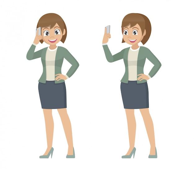 Позы персонажа из мультфильма, бизнес-леди говоря на мобильном телефоне. Premium векторы