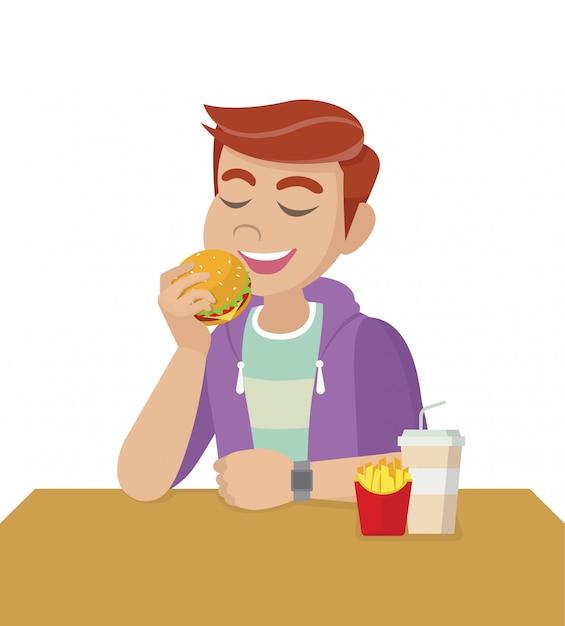 Позы персонажа из мультфильма, концепция нездоровой диеты и неправильного образа жизни. человек ест фаст-фуд. Premium векторы
