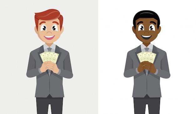 ドルの現金のスーツ立って持株ファンでビジネスの男性を設定します。 Premiumベクター