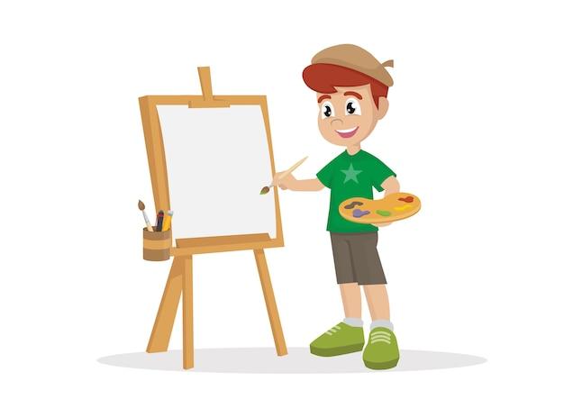キャンバスに絵を描くアーティストの少年。 Premiumベクター