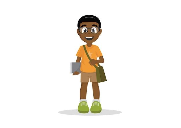 アフリカの学校の少年眼鏡本の学生。 Premiumベクター