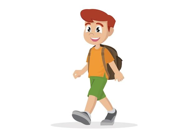 漫画アフリカの男の子歩く。 Premiumベクター