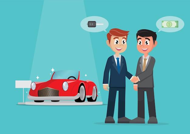 現金で車を売るためのビジネスマンハンドシェイク契約。 Premiumベクター