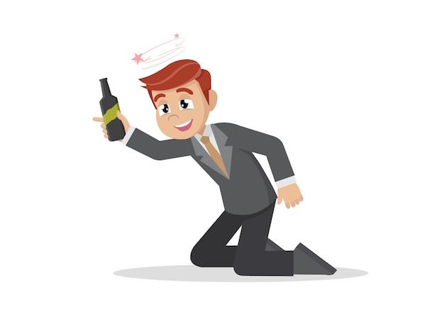 笑った酔っ払いのビジネスマン。 Premiumベクター
