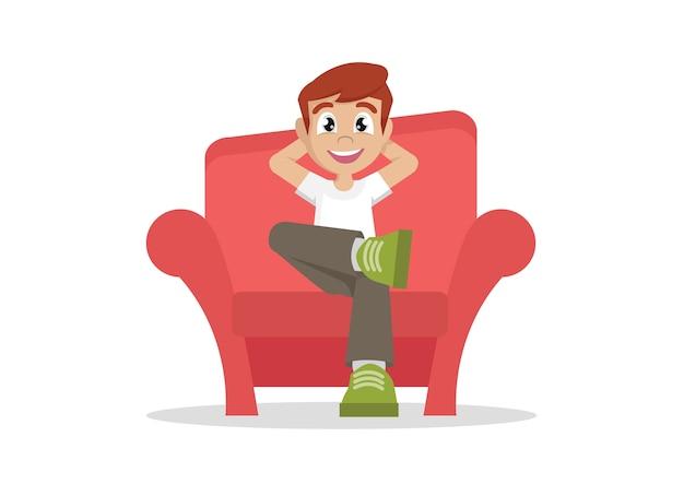 少年は家でソファーでリラックスします。 Premiumベクター