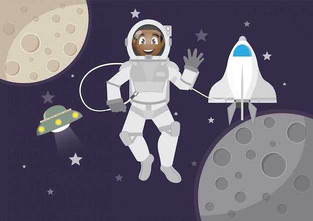 アフリカ少年の宇宙観光 Premiumベクター