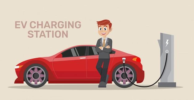 ビジネスマン電気自動車の充電。 Premiumベクター