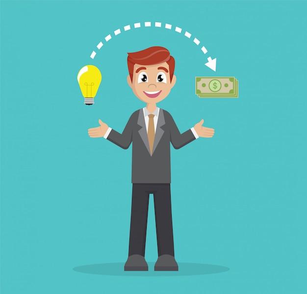 ビジネスマンはアイデアをお金に変えます。 Premiumベクター