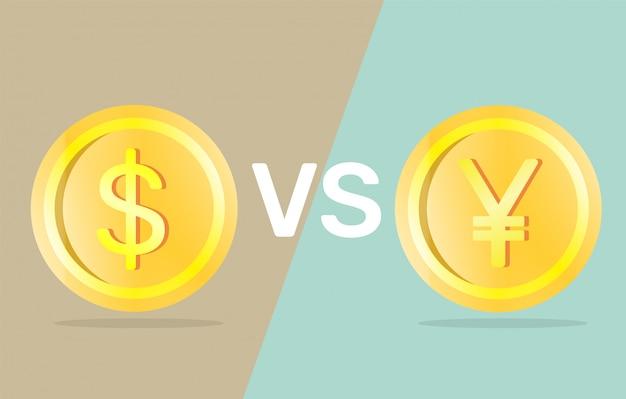 Доллар против юаня. Premium векторы