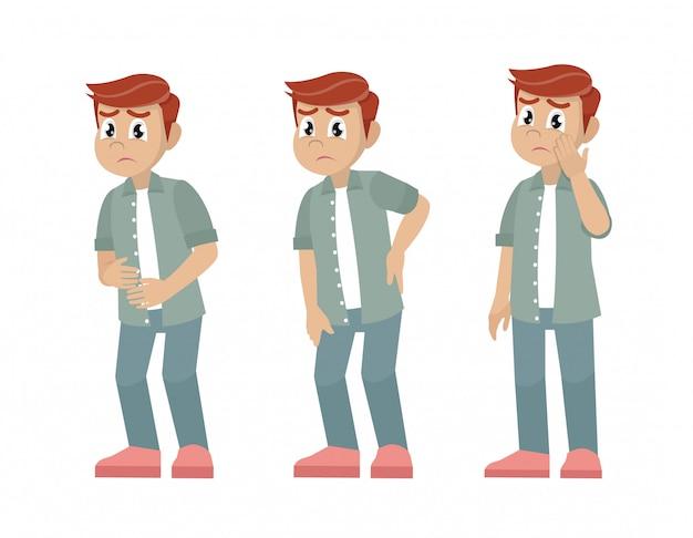 体のさまざまな部分に痛みを持つ文字男性のセット。 Premiumベクター