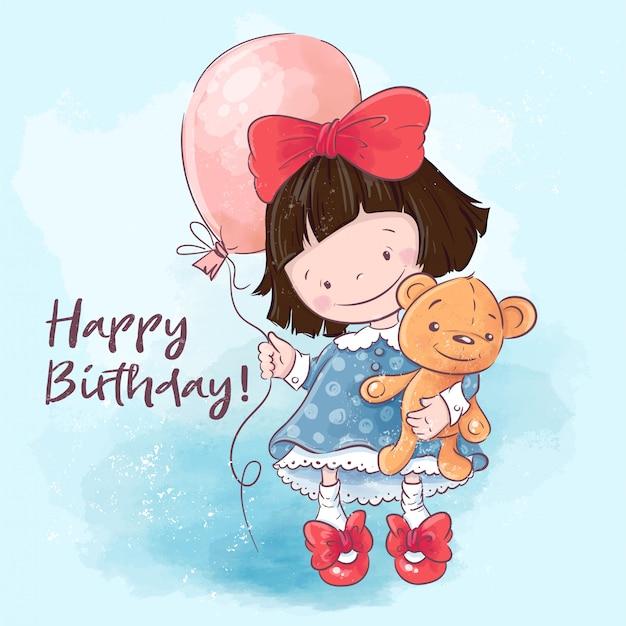 お誕生日おめでとうグリーティングカード。風船とおもちゃのイラストかわいい漫画の女の子。 Premiumベクター