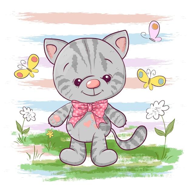 花と蝶のかわいい小さな猫のイラスト。服や子供部屋用に印刷する Premiumベクター