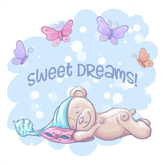 眠っているかわいいクマと蝶の甘い夢。漫画のスタイル Premiumベクター