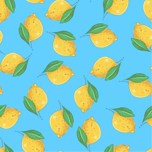 シームレスパターンの黄色いレモン。ベクトルイラスト Premiumベクター