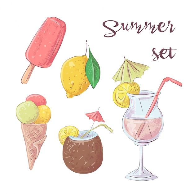 カクテルアイスクリームとトロピカルフルーツのセット。ベクトルイラスト Premiumベクター