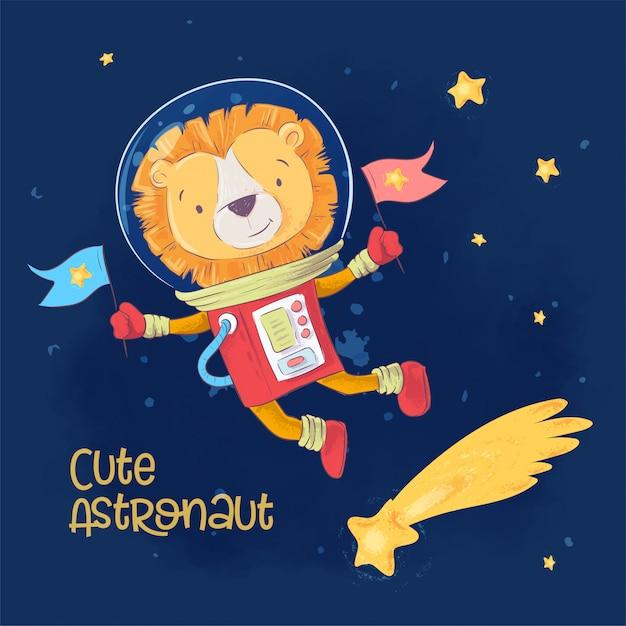 Открытка плакат милый астронавт леон в космосе с созвездиями и звездами в мультяшном стиле. Premium векторы