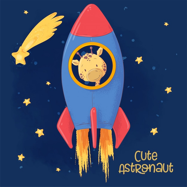 ロケットにかわいいキリンのはがきポスター。 Premiumベクター