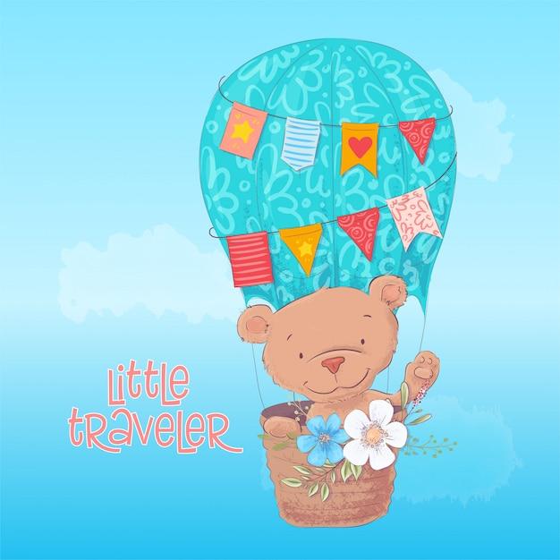 漫画のスタイルの花と風船でかわいいクマのポストカードポスター。手描き。 Premiumベクター