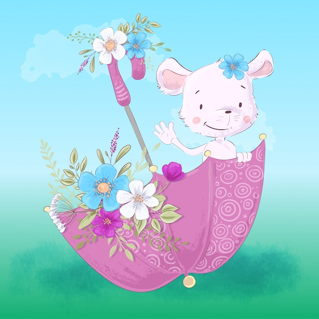 花と傘の中のかわいい小さなマウスのイラスト。 Premiumベクター