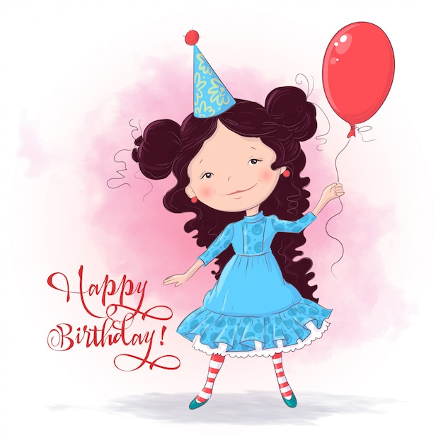 バルーンでかわいい女の子のお誕生日おめでとうイラスト。手描き。漫画のスタイル Premiumベクター