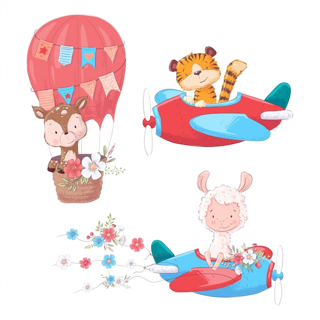 飛行機とバルーンの子供たちのクリップアートに漫画かわいい動物虎鹿とラマを設定します。 Premiumベクター
